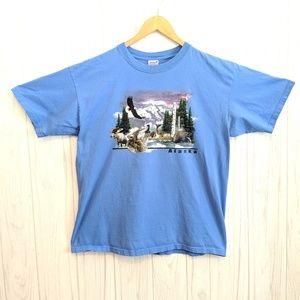 Anvil Light Blue Alaska Tshirt Size Large